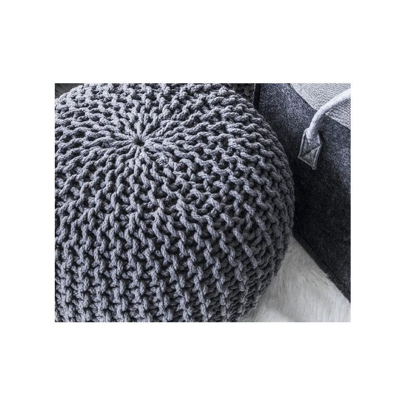 Cocon pouf rond tress gris anthracite 45x35 cm si ge appoint d coratio - Pouf gris anthracite ...