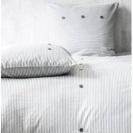 ORIANE housse de couette 220x240 cm - parure lit 2 personnes - blanc/gris à rayures