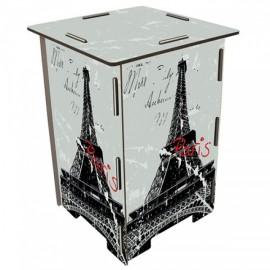 PARIS - Tabouret en medium design Tour Eiffel motifs gris/noir