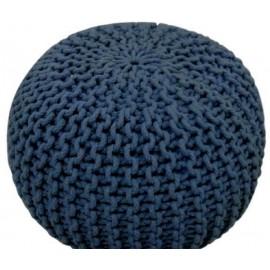 COCON - Pouf rond tressé bleu marine 45x30 cm