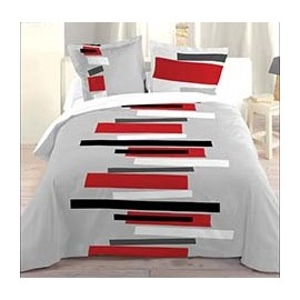 housse de couette imprim e graphique line parure housse couette 240x220 d. Black Bedroom Furniture Sets. Home Design Ideas