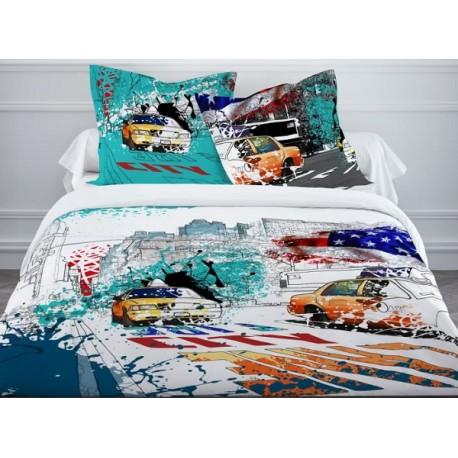 ny colors parure housse couette 240x220cm 2 taies 63x63cm. Black Bedroom Furniture Sets. Home Design Ideas