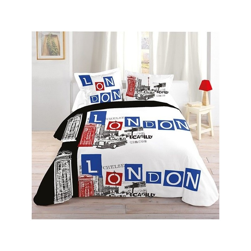 Housse de couette london parure de lit london picadilly for Housse de couette ado fille