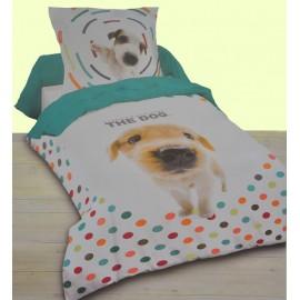 DOGS housse de couette 140x200 cm imprimée chiens lit 1 personne