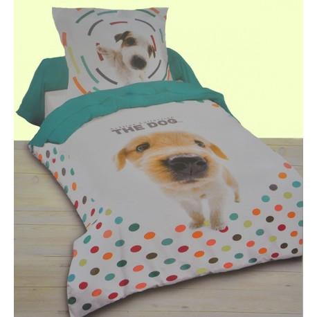 Dogs housse de couette 140x200 cm 1 taie parure de lit - Housse de traversin 1 personne ...