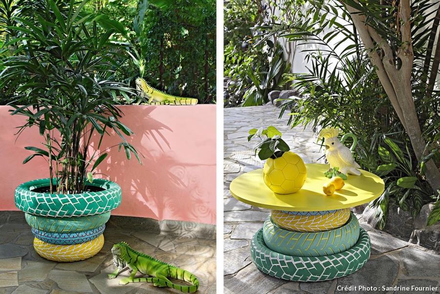 Vivre dedans dehors une maison color e la d coration design pleine de cr ativit kolorados - Decoration jardin avec des pneus ...