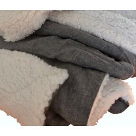 KAMIE - Plaid sherpa gris ardoise chiné doublé fourrure mouton 125x150 cm
