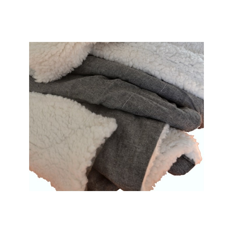 KAMIE - Plaid sherpa gris ardoise chiné doublé fourrure mouton 125x150 cm e3383e30152