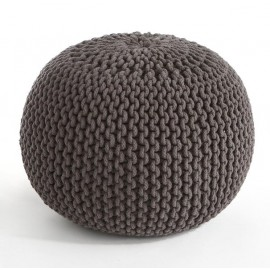 COCON - Pouf rond tressé gris anthracite 45x30 cm
