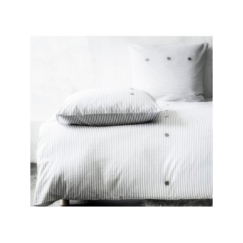 Oriane housse de couette imprim e 220x240 cm gris blanc ray e parure lit 2 personnes - Housse de couette rayee ...