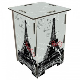 PARIS - Tabouret en medium design Tour Eiffel motifs gris/noir