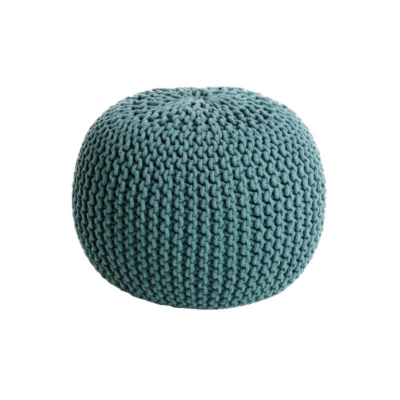 Cocon pouf rond tress bleu azur 45x35 cm fauteuil - Pouf rond tresse ...
