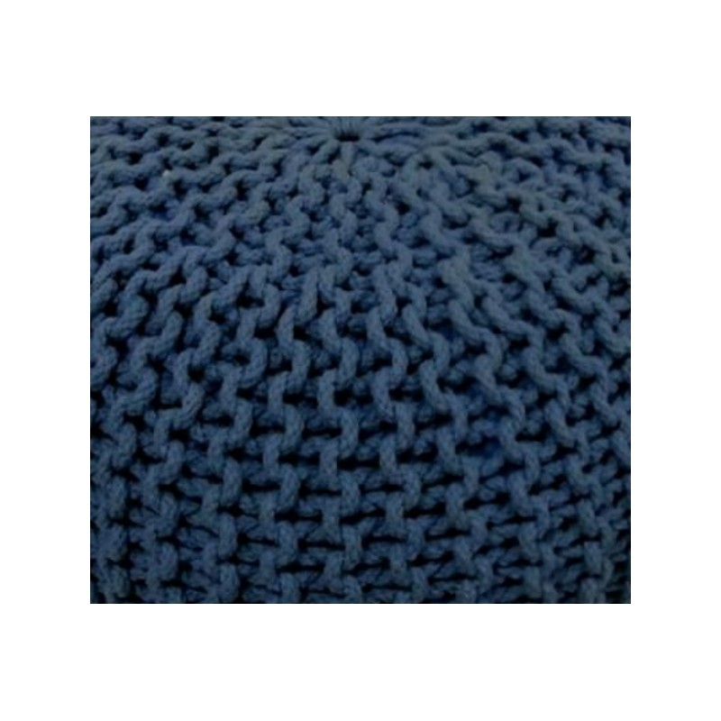 Cocon pouf rond tress bleu marine 45x35 cm fauteuil - Pouf rond tresse ...