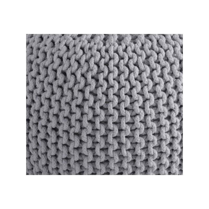 Cocon pouf rond tress gris clair 45x35 cm si ge - Pouf rond tresse ...