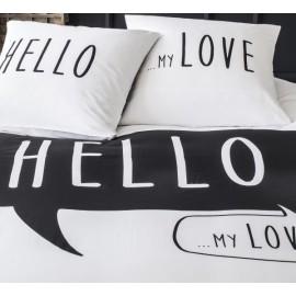 LOVE housse de couette 220x240 cm - parure lit 2 personnes - blanc/noir