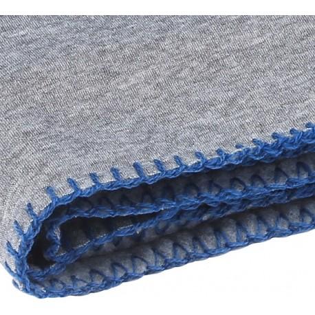LOOPY - Plaid polaire jersey gris bleu 130x160 cm