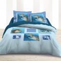 BUBBLE - Housse de couette 200*200 cm col. bleu imprimée dauphin - Parure de lit 2 personnes
