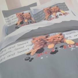 CATSY - housse de couette 200x200 cm motif chatons - Parure lit 2 personnes