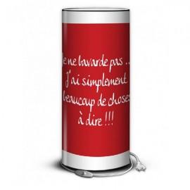 RED lampe à poser 80 cm rouge imprimée message blanc