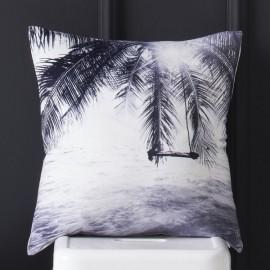 PALMY - coussin 40x40 cm palmier noir blanc velours imprimé motif tropical