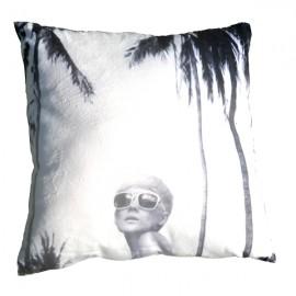 PALM BEACH - coussin 40x40 cm palmier blanc velours imprimé noir motif tropical