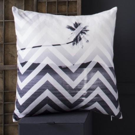 LOS ANGELES - coussin 40x40 cm blanc velours imprimé noir tropical motif palmiers