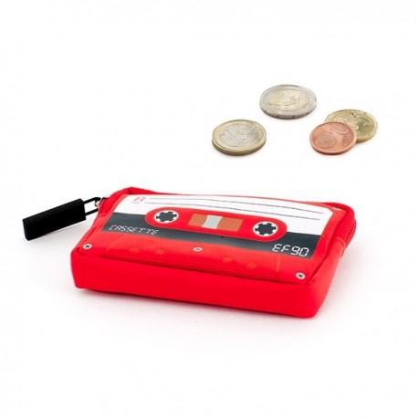 Porte-monnaie K7 vintage imprimé cassette audio rouge