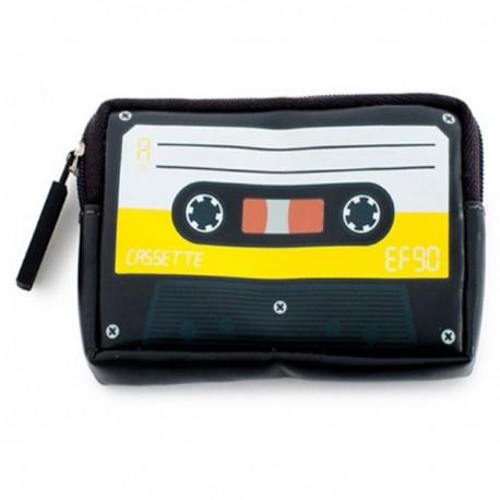 Porte-monnaie K7 vintage imprimé cassette audio jaune / noir