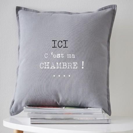 MA CHAMBRE - coussin 40x40 cm gris coton imprimé blanc