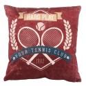 TENNIS - Coussin 30x30cm marron imprimé Raquette de Tennis
