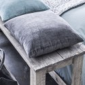 ARDOISE - Coussin 40x40 cm Gris bi-matière Chambray / Velours Velvet