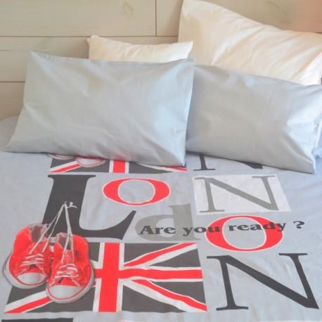 LONDON - housse de couette imprimée LONDRES 220x240 cm gris rouge