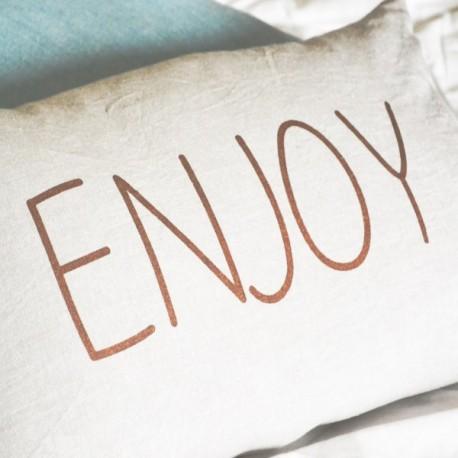 ENJOY - coussin uni 30x50 cm - couleur beige - imprimé enjoy