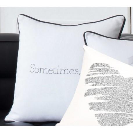 SOMETIMES - coussin uni 40x40 cm - coussin blanc imprimé noir - liseré noir