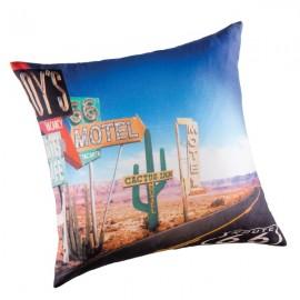 ROUTE 66 - housse de coussin 50x50 cm imprimé désert américain cactus