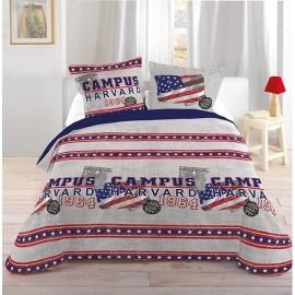 CAMPUS HARVARD housse de couette 220*240 cm + 2 taies oreiller - Parure lit 2 personnes chambre adolescent