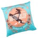 SURF - Coussin 30x30 cm en velours bleu turquoise imprimé motifs surf