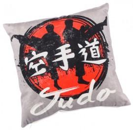 JUDO - coussin 30x30 cm velours imprimé motif judoka gris noir rouge