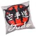 JUDO - coussin 30x30 cm velours imprimé motif Judoka / Karatéka gris noir rouge