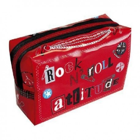 ROCK N ROLL – Trousse rectangulaire rouge imprimée rock n'roll attitude