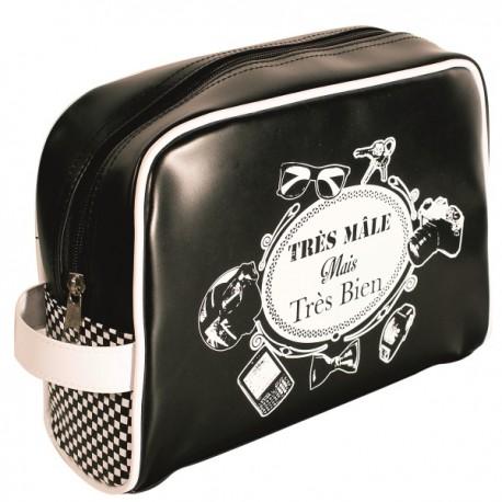 TRES MALE – Trousse de toilette pour homme col. noir imprimé blanc