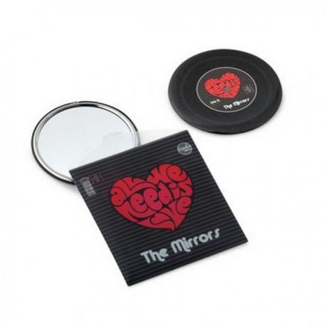 Miroir de poche LOVE vintage métal noir imprimé rouge