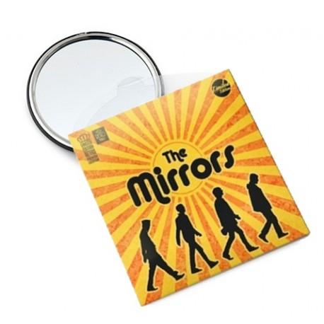 Miroir de poche SUN vintage métal noir imprimé soleil
