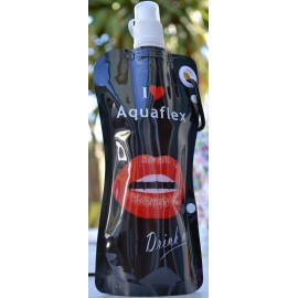 Gourde DRINK ME - 580 ml - noire design lèvres rouges