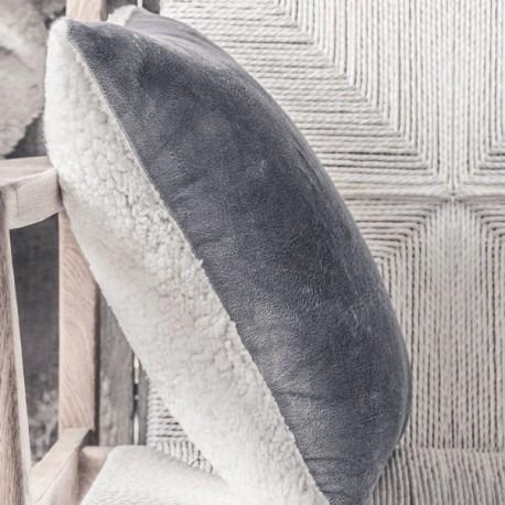 SHERPA - Coussin 40x40 cm velours gris et fausse fourrure