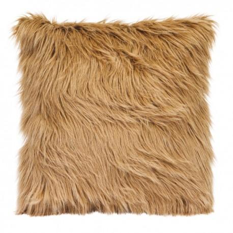 MISTY - Coussin 45x45 cm fausse fourrure imitation poil angora col. marron taupe
