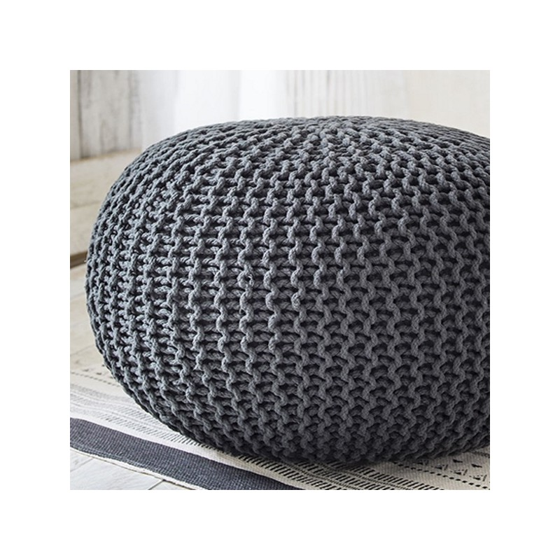 cocon xxl grand pouf rond tress gris anthracite 65x45 kolorados. Black Bedroom Furniture Sets. Home Design Ideas