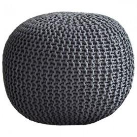 COCON XXL - Pouf Rond Tressé Gris Anthracite 65x45 cm