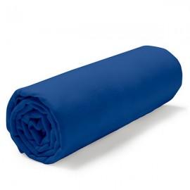 MARINA - Drap Housse 140 x 190 cm - Bleu Indigo - Literie 2 personnes