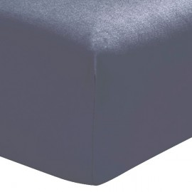 MARINA - Drap Housse 160 x 200 cm - Bleu Indigo - Literie 2 personnes